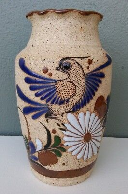 TONALA - MEXICAN FOLK ART POTTERY VASE w/ BIRD - 8""