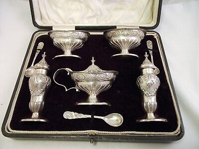 Ornate 5 Piece Solid Silver Cruet / Condiment Set - Birm 1904- With Spoons Cased