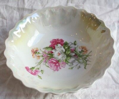 """Beautiful Antique Made in Germany Lustre Hand Painted Bowl with Flowers Motif 8"""""""