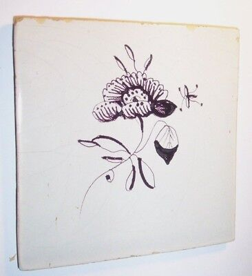 Delft Tile c.  18th  century   ( D 32)  Flower  and insect