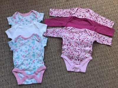 Mothercare Baby Girls Upto 1 Month Vests Pretty Floral X6