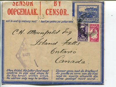 South Africa uprated censor aerogramme to Canada 1944