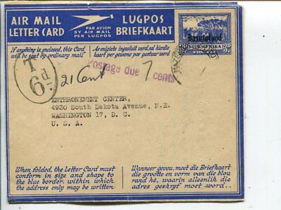 Basutoland postage due aerogramme to USA 1953, add franking removed