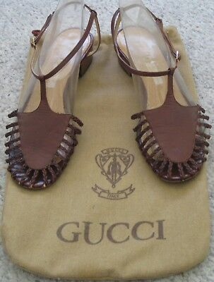 Vintage Gucci Made In Italy Brown Leather Flat Sandals 39 1/2 8 1/2 Us With Bag