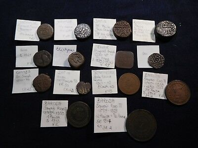 K3 India Mewar & Princely States Coppers Mixed Group 14 pcs