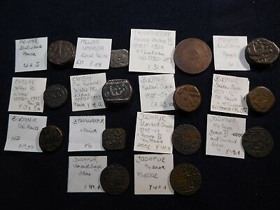 K4 India Mewar & Princely States Coppers Mixed Group 14 pcs