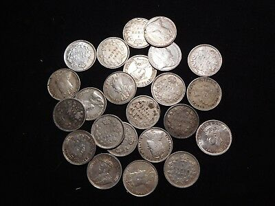 K10 Canada Silver 5 Cents Mixed Dates Group 22 pcs