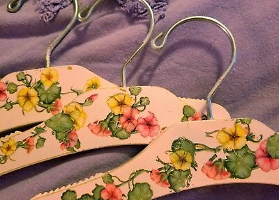 """#B4-Set of 3-KIDS-Handpainted-Decorated 10"""" Wooden-Hangers🌹Vintage-Style-Roses!"""
