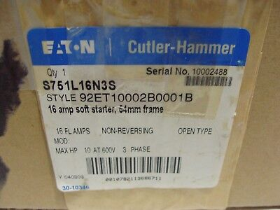 Eaton Cutler Hammer S751L16N3S Soft Starter 16 Amp 600VAC 3PH 54mm Frame NEW