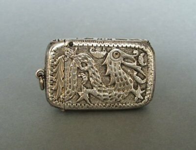 Antique Chinese silver hand hammered match holder striker pendant.