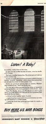 1943 Country Gentleman Magazine Advertisement Johnson's Baby Powder 1 Page A409