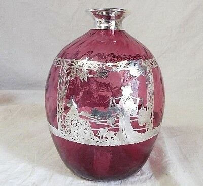 OLD Antique STERLING SILVER OVERLAY CRANBERRY GLASS BOTTLE Decanter ASIAN Scene