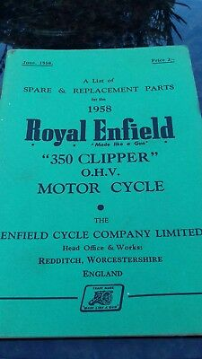 Royal Enfield 350 Clipper 1958 spare parts book.