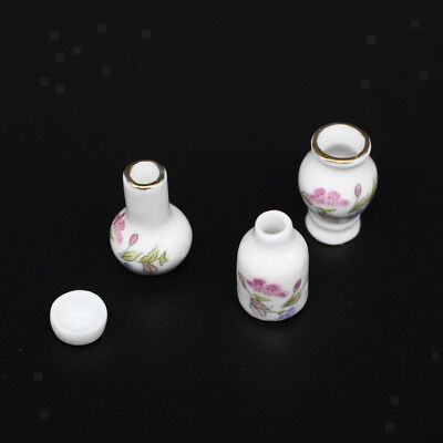 1:12 Dollhouse Miniature White Floral Ceramic Vases Pots for Flowers Plants