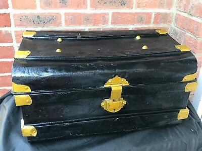 Antique Vintage Black Metal Railway Steamer Trunk Chest Coffee Table