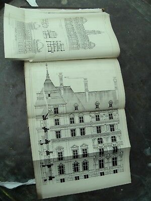 Very rare 1880's book -  'Building News'  Detailed Architects drawings plans etc