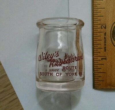 Vintage Wiley's Restaurant South Of York Pa Small Creamer Size Milk Bottle