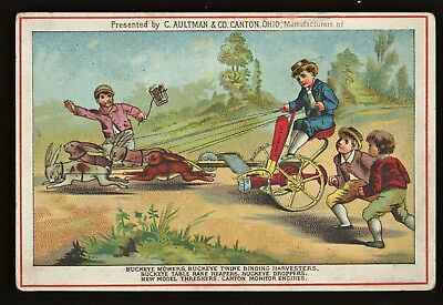 Buckeye Mower Aultman Co Canton O  Advertising Trade Card Louisville KY