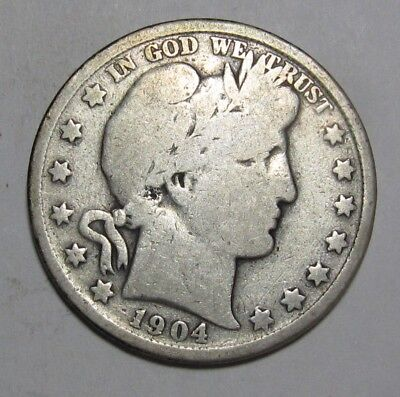 1904 Barber Half Dollar - Very Good Condition Cleaned - 219SA