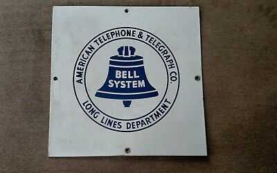 Vintage Bell System American Telephone & Telegraph Co. Long Line porcelain sign