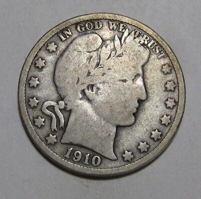 1910 S Barber Half Dollar - Very Good to Fine Condition - 241SA