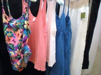 LOT of 5 SUMMER CLOTHING Swim Suit Tank Tops Sundress Linen Pants sz L