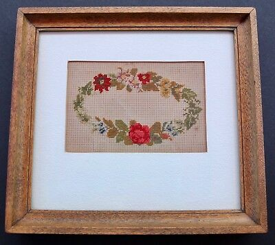 Antique Victorian Petit Point Floral Wreath In Wood Frame With Provenance