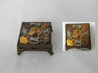 vintage child keepsake trinket box Sweet Romance mixed metal by Shelley Cooper
