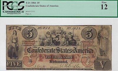 T-31 PF-1 $5 Confederate Paper Money 1861 - PCGS Fine 12