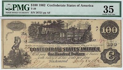 T-39 PF-13 $100 Confederate Paper Money 1862 - PMG Choice Very Fine 35!