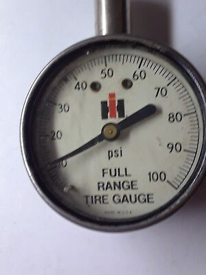 Vintage IH International Harvester Full Range Tire Pressure Gauge; USA 0-100 PSI