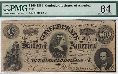 T-65 PF-2 $100 1864 Confederate Paper Money - PMG Choice Uncirculated 64!!