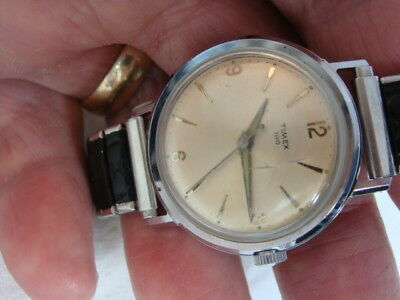 Men's Vintage 1950's Timex 100 Silver-Tone Wind-Up Watch Screw-Back Flex Band