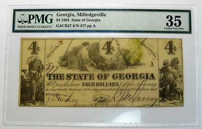 1864 Confederate Georgia Milledgeville $4 * PMG 35 Choice Very Fine * GACR27