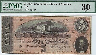 T-69 PF-3 $5 1864 Confederate Paper Money - PMG Very Fine 30!