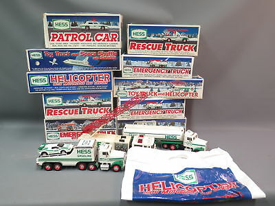 Lot (13) Hess Trucks 1989-2005 w/Boxes (3 loose) Helicopter Space Shuttle Rescu