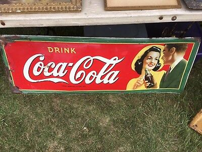 Old Coke Tin Sign Man and Woman Adverting Drink  Coca Cola