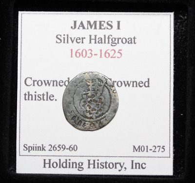 ENGLAND. James I Hammered Silver Halfgroat, Crowned Rose and Thistle