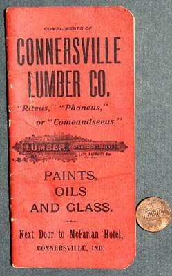 Circa-1900 Connersville,Indiana Lumber & Paint Co.pocket memo booklet-VINTAGE!