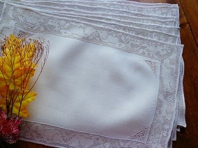 Antiq. Italian Handmade Figural Lace Animals SET OF 10 PRISTINE LINEN PLACEMATS