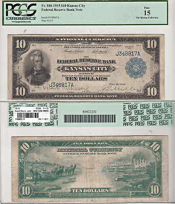1915 $10 Kansas City Federal Reserve Note F-816 PCGS Fine-15