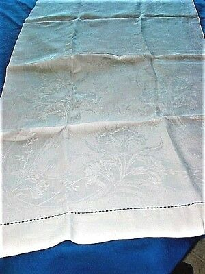 "Vtg.Linen BathTowel 100%Damask! 24x44""Stylized Carnations?Florals,leaves!ExCond!"