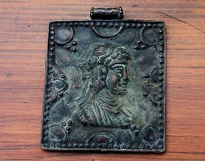Stunning Large Ancient Roman Bronze Emperor Ornamental Pendant Amulet Artifact