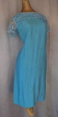 Vintage 1950s 1960s BEAUTIFUL BLUE LACE COCKTAIL PARTY SHEATH DRESS - MED / LRG