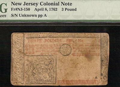 1762 NEW JERSEY COLONIAL CURRENCY 3 POUND NOTE PAPER MONEY NJ-150 ONLY 11 by PMG