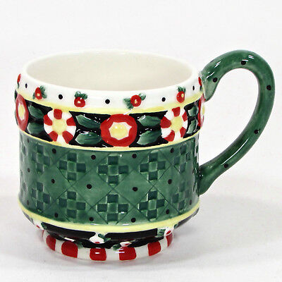 Mary Engelbreit Michel & Co. Decorative Holiday Tea Cup Green Black Red Yellow