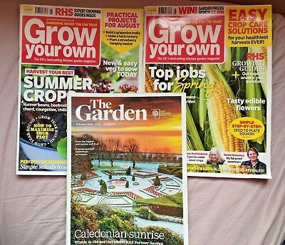 Grow Your Own Magazines May & Aug 17 x 2 RHS The Garden Feb 2018 x1 Gardening