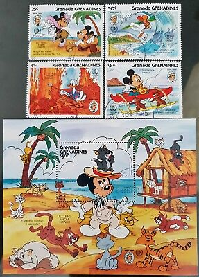 Grenada Grenadines 1985 Disney Sc # 712 - Sc # 716 Mini Sheet Mint CTO Stamps