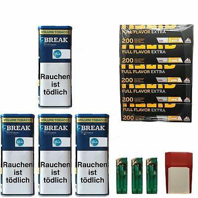 4 Break Blue/Blau XXL Volumentabak 130g, Full Flavor Extra Hülsen, Feuerz., Box
