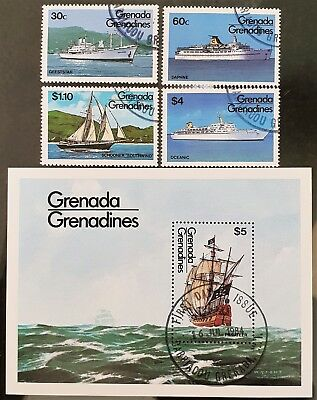 Grenada Grenadines 1984 Sc #601 to Sc #605 Mini Sheet Mint Used CTO Boat Stamps